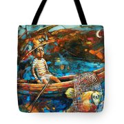 Catching A Goldfish Tote Bag