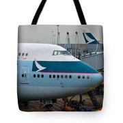 Cathay Pacific 747 Jumbo Jet Parked At Hong Kong Airport Tote Bag