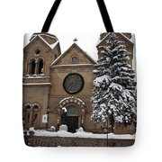 Cathedral Basilica Of St Francis In Snow Tote Bag