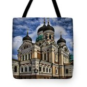 Cathedral In Tallinn Tote Bag by David Smith