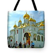 Cathedral Of The Annunciation Inside Kremlin Walls In Moscow-russia Tote Bag