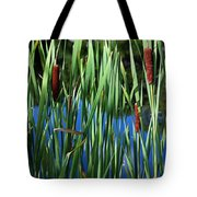 Cattail Pond In Pastel Tote Bag