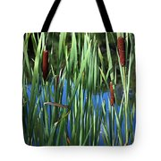 Cattail Pond In Watercolor Tote Bag