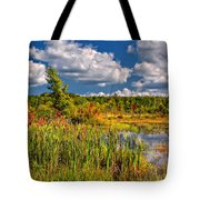 Cattails And Clouds Tote Bag