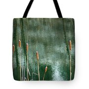 Cattails On Green Tote Bag