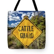 Cattle Guard Road Sign Tote Bag