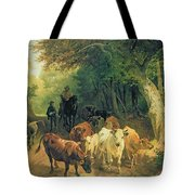 Cattle Watering In A Wooded Landscape Tote Bag