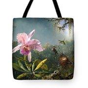 Cattleya Orchid And Three Brazilian Hummingbirds Tote Bag