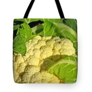 Cauliflower With A Visitor. Square Format Tote Bag