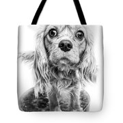 Cavalier King Charles Spaniel Puppy Dog Portrait Tote Bag
