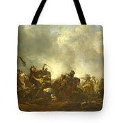 Cavalry Attacking Infantry Tote Bag