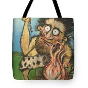 Caveman And Fire Tote Bag