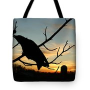 Cawcaw Over Sunset Silhouette Art Tote Bag