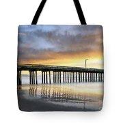 Cayucos Pier Reflected Impasto Tote Bag
