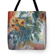 Sale - Sunflowers In Window Light - Original Impressionist - Large Oil Painting Tote Bag