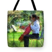 Cellist In The Garden Tote Bag