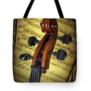 Cello Scroll With Sheet Music Tote Bag