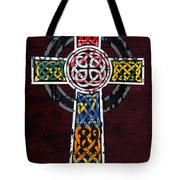 Celtic Cross License Plate Art Recycled Mosaic On Wood Board Tote Bag