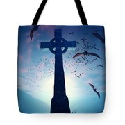 Celtic Cross With Swarm Of Bats Tote Bag