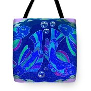 Celtic Fish On Blue And Lavender Tote Bag