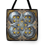 Celtic Hearts - Gold And Silver Tote Bag by Richard Barnes