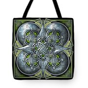 Celtic Hearts - Green And Silver Tote Bag