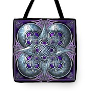 Celtic Hearts - Purple And Silver Tote Bag by Richard Barnes