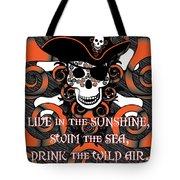 Celtic Spiral Pirate In Orange And Black Tote Bag