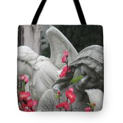 Cemetery Stone Angels And Flowers Tote Bag