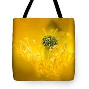 Center Of A Yellow Cactus Flower Tote Bag