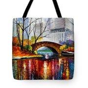 Central Park - Palette Knife Oil Painting On Canvas By Leonid Afremov Tote Bag