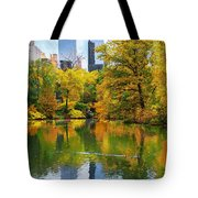 Central Park Pond Autumn Reflections Tote Bag