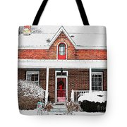 Century Home With Christmas Wreath Tote Bag