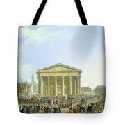 Ceremony Of Laying The First Stone Of The New Church Of St. Genevieve In 1763, 1764 Oil On Canvas Tote Bag