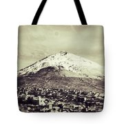 Cerro Rico Potosi Black And White Vintage Tote Bag by For Ninety One Days