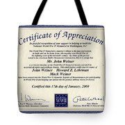 Certificate Of Appreciation Tote Bag