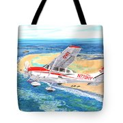 Cessna 206 Flying Over The Outer Banks Tote Bag