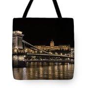 Chain Bridge And Buda Castle Winter Night Tote Bag