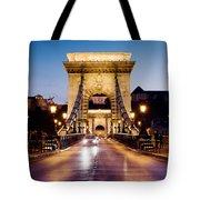 Chain Bridge In Budapest At Night Tote Bag