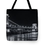Chain Bridge Night Bw Tote Bag