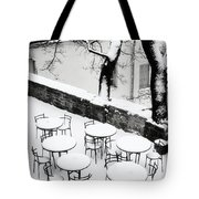 Chairs And Tables In Snow Tote Bag