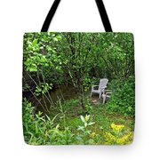 Chairs By The Creek In Summer Tote Bag