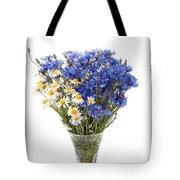 White Camomile And Blue Cornflower In Glass Vase  Tote Bag