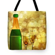 Champagne Bottle And Two Glass Flutes Tote Bag