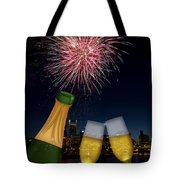 Champagne Toast With Portland Oregon Skyline Tote Bag by JPLDesigns
