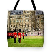 Changing Of The Guard In Front Of Parliament Building In Ottawa- Tote Bag
