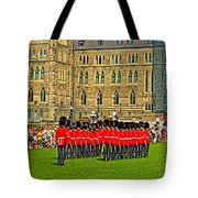 Changing Of The Guard In Front Of The Parliament Building In Ottawa-on Tote Bag