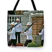 Changing Of The Guard Near Reception Hall At Grand Palace Of Thailand In Bangkok Tote Bag