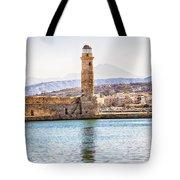 Chania Lighthouse Tote Bag