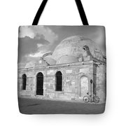 Chania Mosque Crete Black  And White Tote Bag